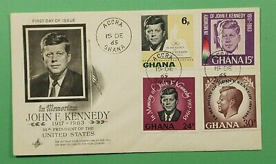 DR WHO 1965 GHANA FDC IN MEMORIAM JFK IMPERFS ARTCRAFT CACHET C241266