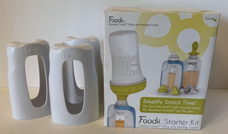 Kiinde Foodii Squeeze Starter Kit Pouches Snack Spouts Spoon Filler Feeding Set+