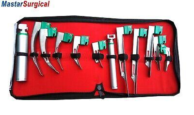 Set Of 10 Fiber Optic Mac And Miller Laryngoscope Blade2 Handle Intubaton Kit