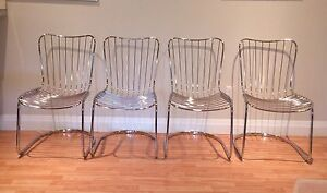 Mid Century chrome cantilever dining chairs 4
