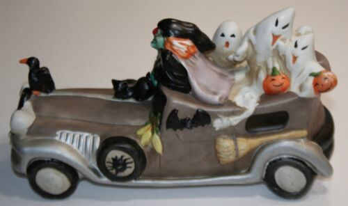 Ultra Rare Enesco 1989 Halloween Lighted Ceramic Car with Witch-Ghosts-Black Cat