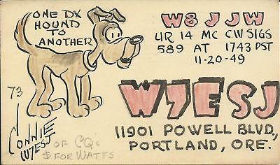 OLD VINTAGE W7ESJ PORTLAND OREGON 1949 AMATEUR RADIO QSL CARD