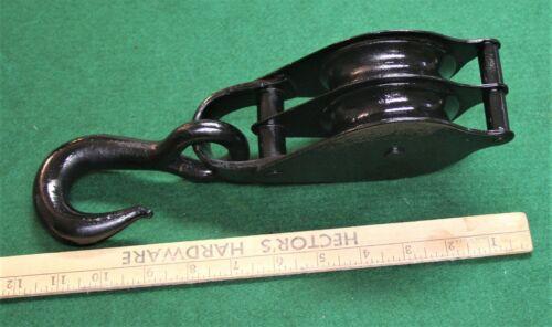 "VINTAGE UNMARKED 12"" DOUBLE SHEAVE STEEL TACKLE BLOCK  ^1940 K"