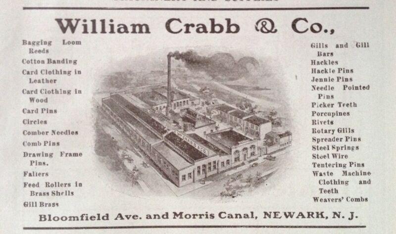 1914 AD(J23)~WILLIAM CRABB & CO. NEWARK, NJ. TEXTILE EQUIPMENT MFG. CO.