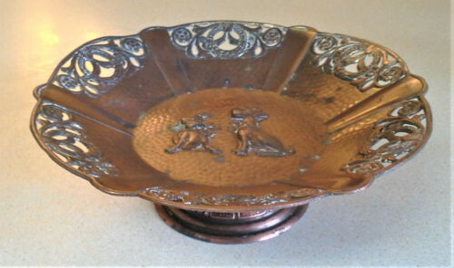 Vintage Ornate Copper Metal Footed  Trinket/Candy Dish w/ Dogs cast into bottom.