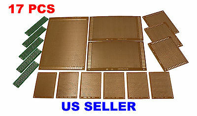 17pcs Kit Prototyping Pcb Printed Circuit Board Prototype Breadboard Stripboard