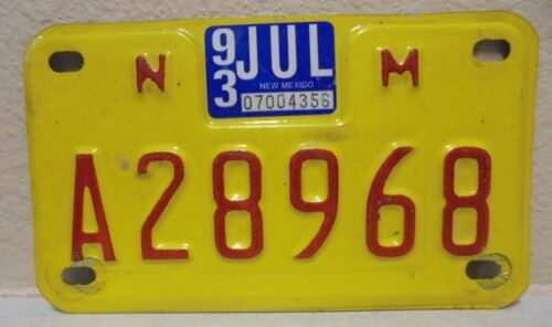 1993 NM New Mexico Motorcycle License Plate A28968