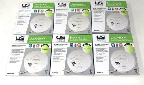 6x New USI Electric Hardwired Ionization Smoke and Fire Alarm w Battery 5304