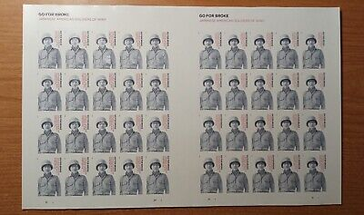 IMPERF GO FOR BROKE TWO SHEETS OF 20 FOREVER STAMPS MNH OG NO DIE CUT RARE