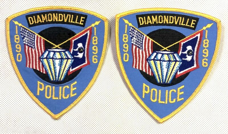 Lot of 2 Vintage Diamondville Police Department Wyoming Shoulder Patch American