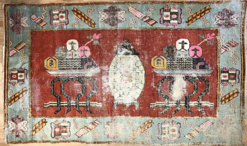 Sensational Samarkand - 1880s Antique Khotan Rug - Tribal Carpet - 5.3 X 8.9 Ft