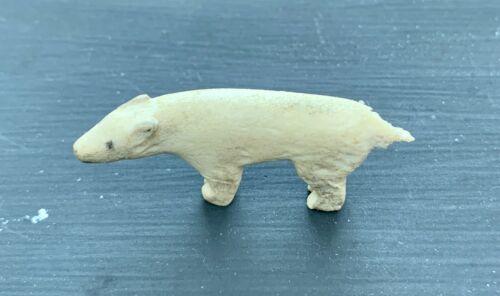 Vintage 60s ALASKA Handmade Carved Caribou Antler - Signed E T (Tocktoo) - Bear