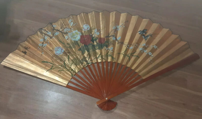 """Large OrientalHand Painted Fan Decorative Wall Hanging Art71"""" Flowers Birds"""