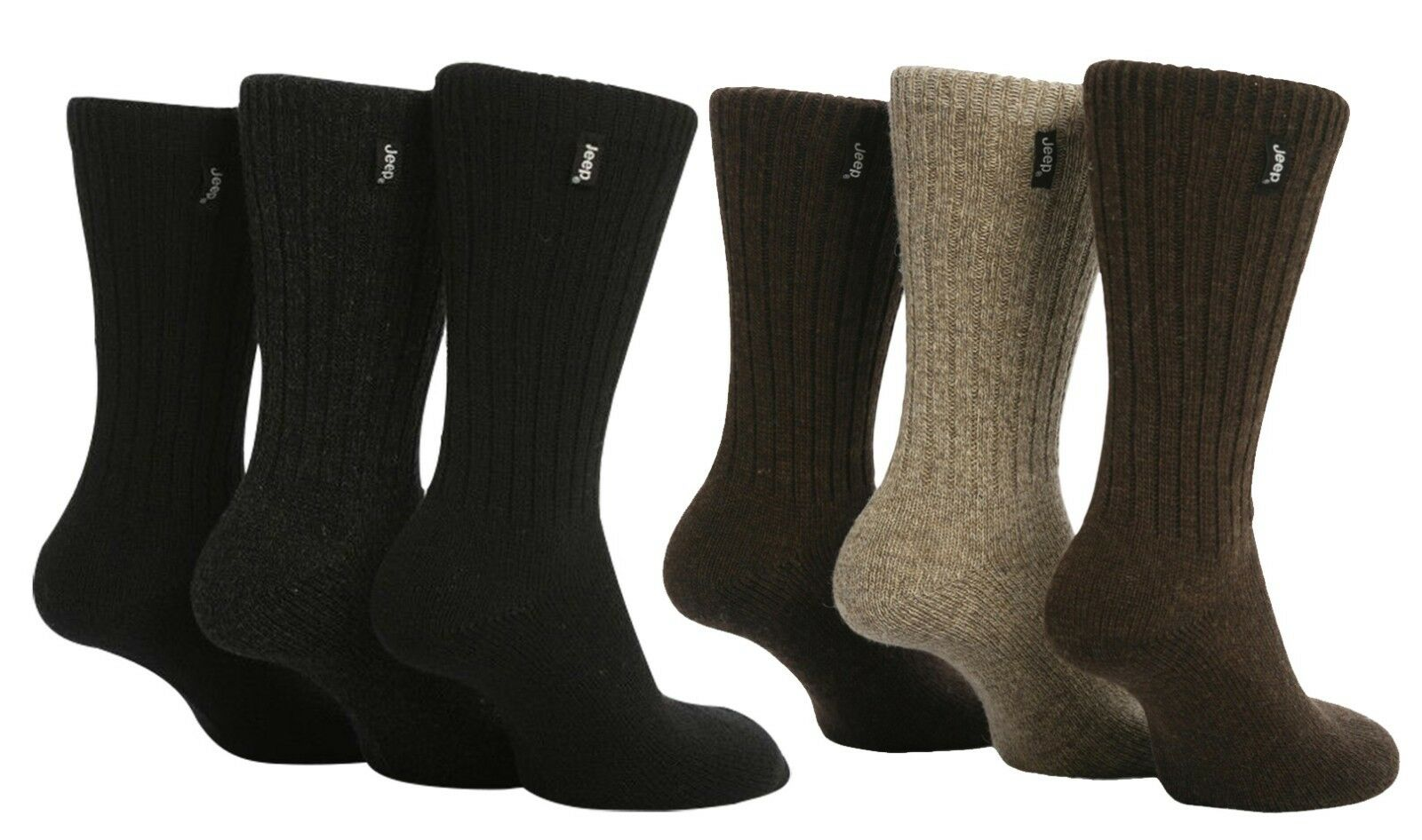 Jeep - 3 Pack Mens Thick Black Brown Heavy Wool Blend Knit Hiking Boot Socks