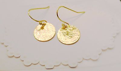 Gold Hammered Disc Circle Drop Dangle Artisan Minimalist Earrings