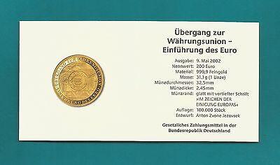 Echtheitszertifikat - für 200 € Goldmünze - Währungsungsunion - 2002 -