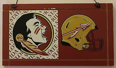 University Florida State Seminoles College NCAA Wood Plaque Sign Helmet a1 ()