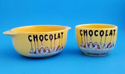 VINTAGE CHOCOLAT DELESPAUL-HAVEZ FRANCE CERAMISTES DEPUIS 1857 CUP & PORRINGER B