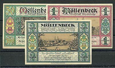 Möllenbeck Gemeinde 3 Scheine Notgeld Serie kompl..