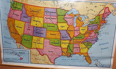 Nystrom Markable School Pull Down Readiness Map of WORLD & UNITED STATES NICE