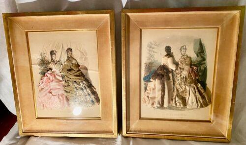 Pair French Victorian La Mode Illustree 3D Fashion Shadowbox Prints