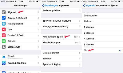 Ganz wichtig: Die automatische Bildschirmsperre muss deaktiviert werden Foto: Apple