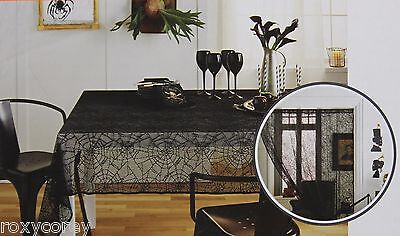 Halloween Black Spiderweb Lace 60x84 Oblong Tablecloth & Door Decor NWT (Target Halloween Decor)