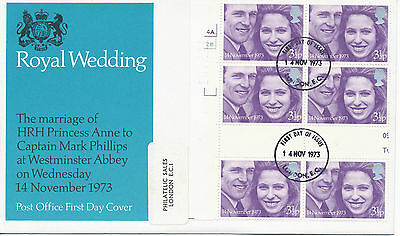 2304 1973 Royal Wedding Princess Anne VARIETY: miscut Cyl.Bl. of 6 w gutter FDC
