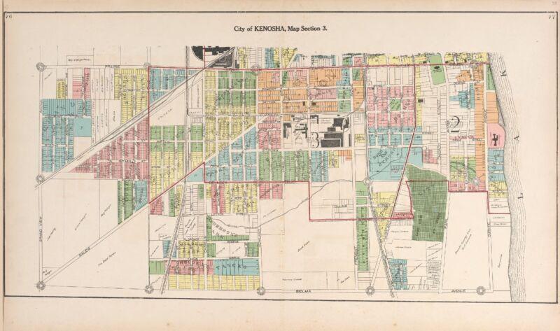 1908 ATLAS RACINE COUNTY WISCONSIN Kenosha plat maps old GENEALOGY DVD P132