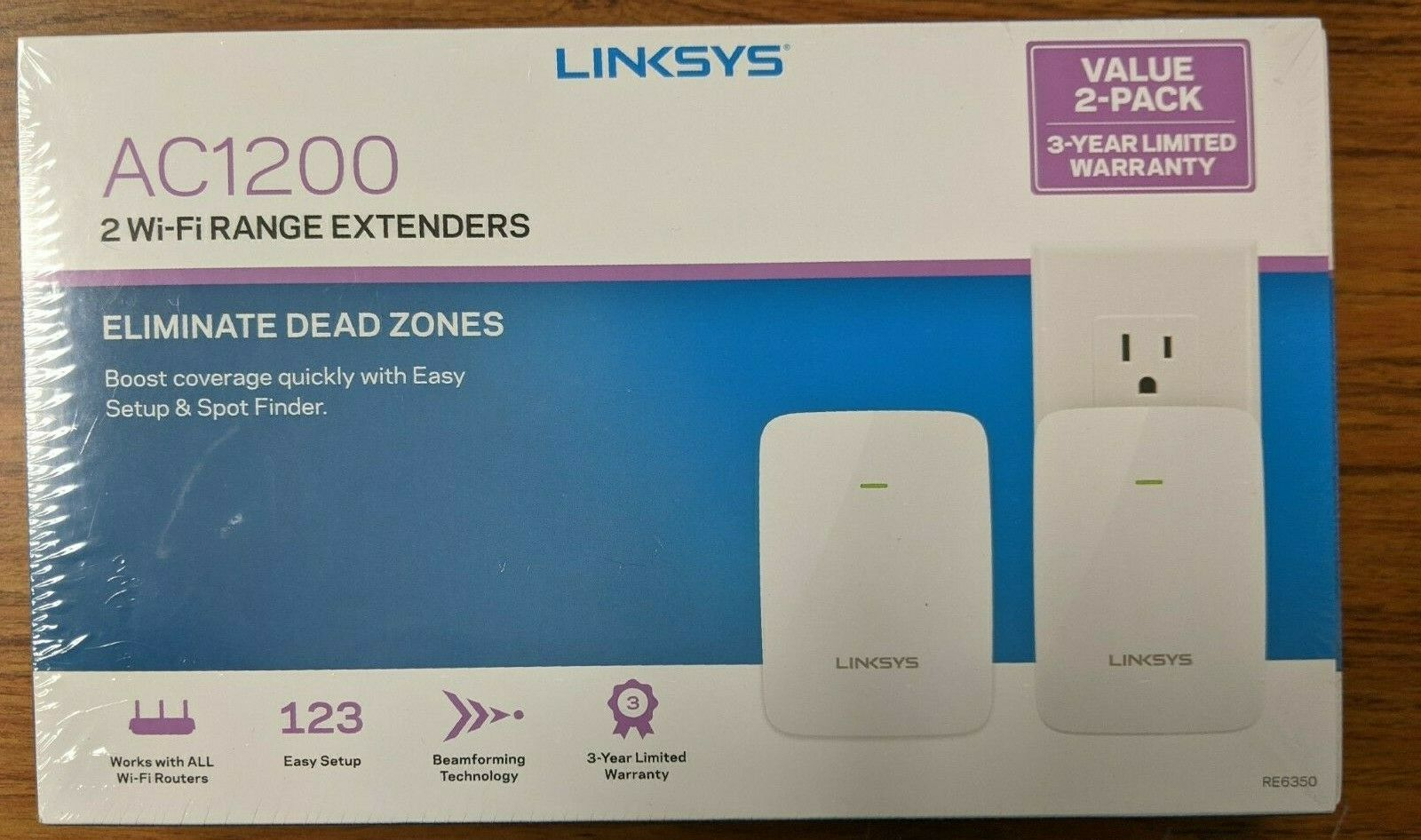 Linksys AC1200 - 2 Wi-Fi Range Extenders 2 Pack SEALED FREE