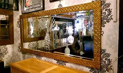 Large Antique Gold Mosaic Wood Wall Mirror Bevelled John Lewis167x76cm Leaner for sale  Shipping to Canada