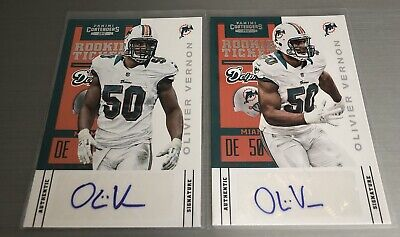 2012 Contenders OLIVIER VERNON Dolphins (2-Card) Rookie Ticket Auto Lot #174