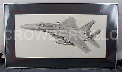 Jim Stovall F15 Fighter Jet Pencil Sketch Matted Framed Signed & Numbered #1414! Fighter Jet Framed