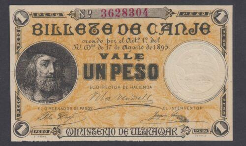 Puerto Rico 1 Peso 1895  AU-  P. 7,   Banknote, Uncirculated