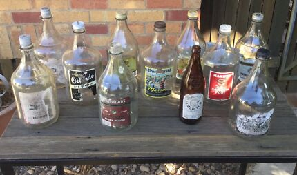 Vintage glass alcohol bottles all 2L home brew $5 each