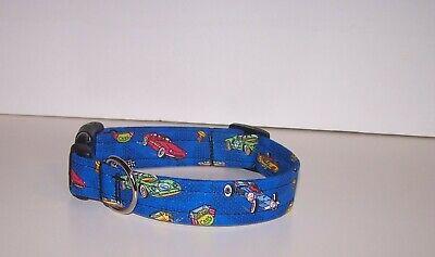 Speed Racer Flag - Wet Nose Designs Speed Racer Dog Collar Race Cars Vroom Checkered Flag on Blue