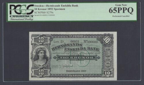Sweden Hernösands Enskilda Bank 10 kronor 1892 PS279s Litt D Specimen UNC