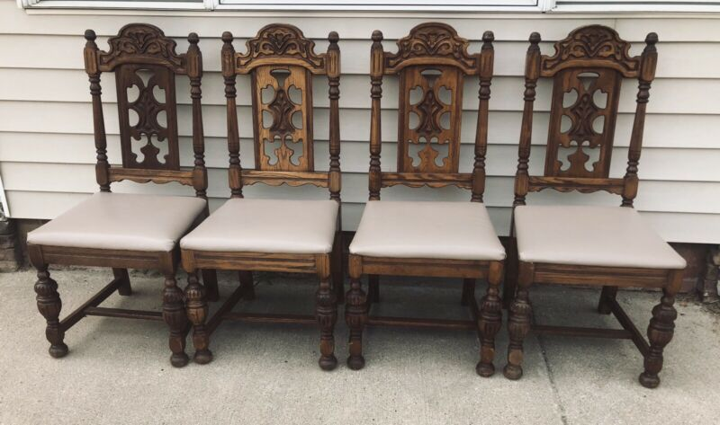 Antique Vintage Gothic Revival Jacobean Dining Side Chairs