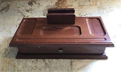 Vintage Wood Desk Organizer Wdrawer Desktop Organizer Caddy