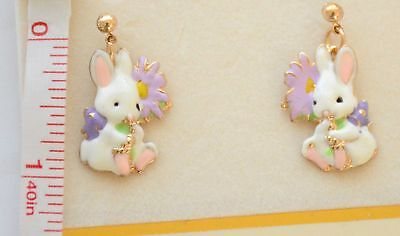 Easter Bunny w Flower Dangling Post Earrings / Gold-tone / White Spring - Dangling Bunny