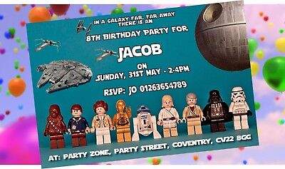 Star Wars Lego Personalised Party Invitations - Pack of 10 or Download