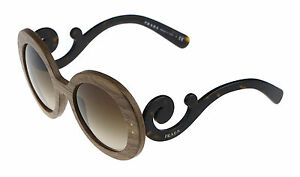 NEW Wooden SPECIAL PROJECT PRADA Baroque Nut Canaletto Sunglasses SPR 27R IAM6S1