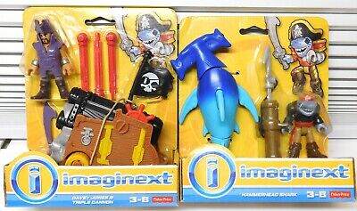 Fisher Price Imaginext Pirate Davey Jones Triple Cannon & Hammerhead Shark New