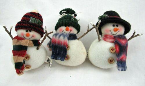 3 Snowman Ornaments stuffed holiday decorations rustic design PBC