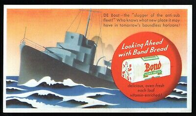 BOND BREAD WW2 DE Boat ANTI-SUB Vintage Advertising Ink Blotter NICE GRAPHICS