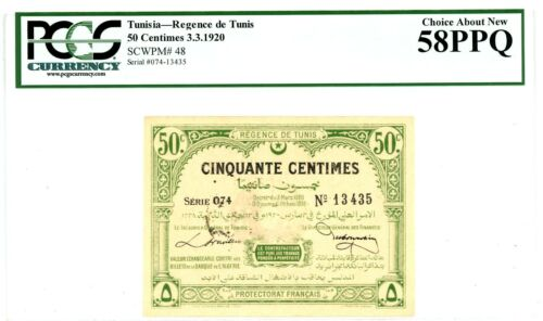 Tunisia ... P-48 ... 50 Centimes ... 1920 ...* (~) UNC*