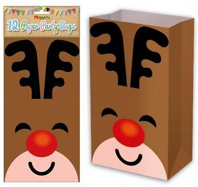 Paper Bag Reindeer (12 Reindeer Paper Bags - Christmas Gift Party Kids Cupcake Xmas)