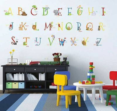 - 129 ANIMAL ALPHABET GIANT WALL DECALS Removable and Reusable Stickers ABC Decor