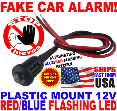 12v BLUE/RED Alternating Flashing Dummy Fake Car Alarm Dash Mount LED Light PM