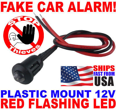 1x Dummy Fake Car Alarm 12v RED Flashing Alternating Dash Mount LED Light